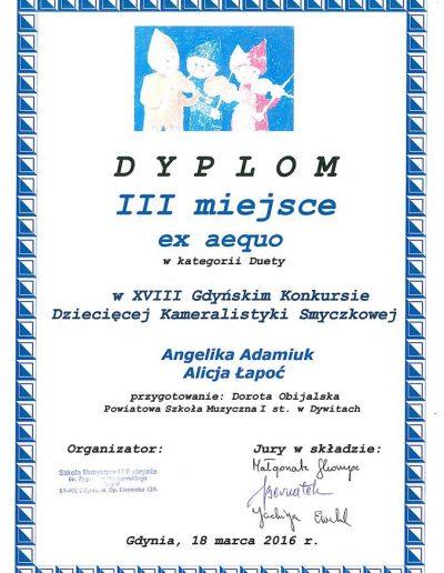 2016 03 19 Angelika Adamiak Alicja Łapoć