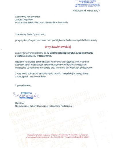 2017 03 18 Erna Zawistowska - podziękowanie Nadarzyn 100p